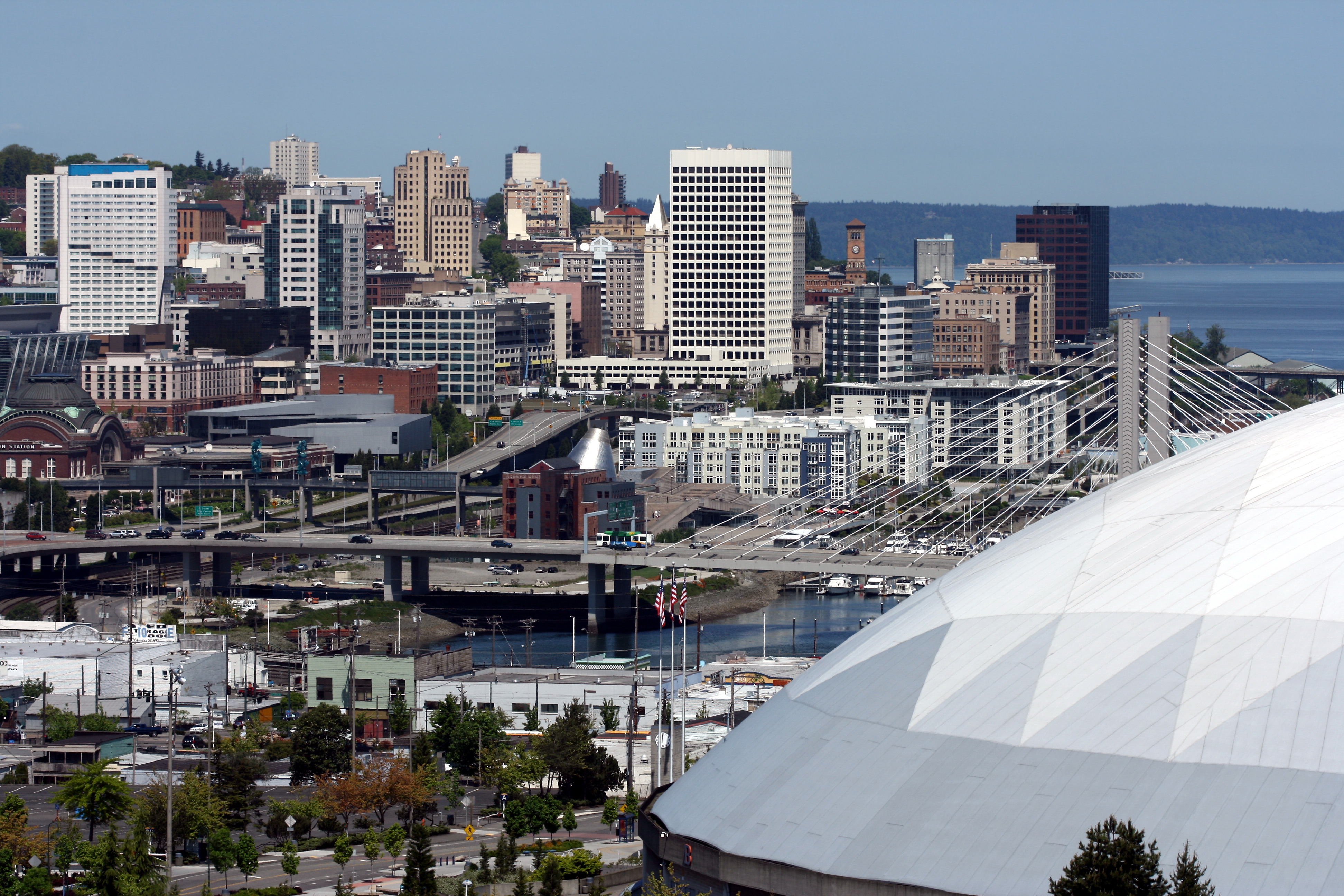 City of Tacoma with major landmarks
